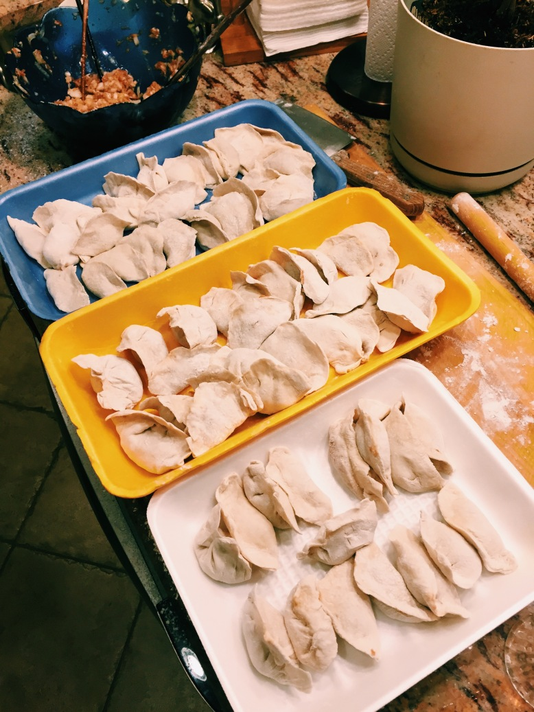 Learned/made dumplings from scratch with my momma and they're slowly getting better lookin'.